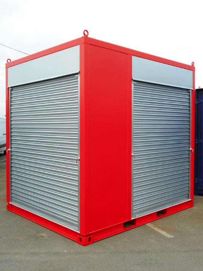 shipping container exhibition stand with roller shutters