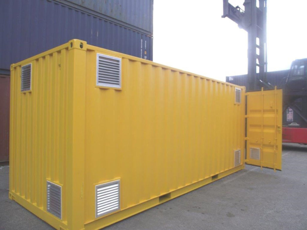 shipping container chemical store with vents