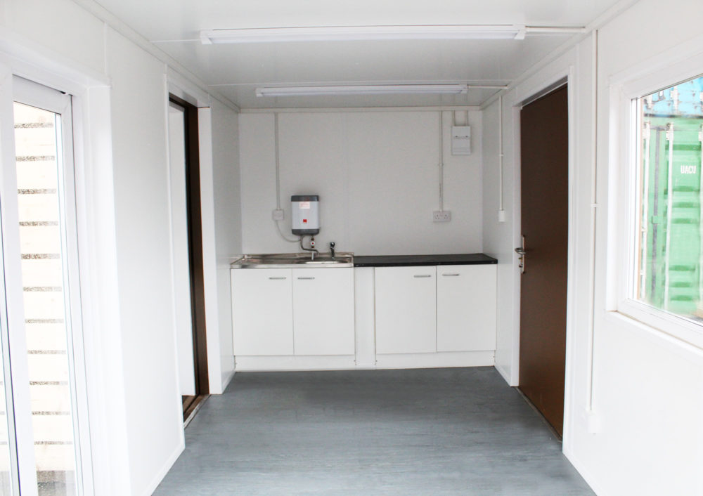 shipping container conversion kitchen area