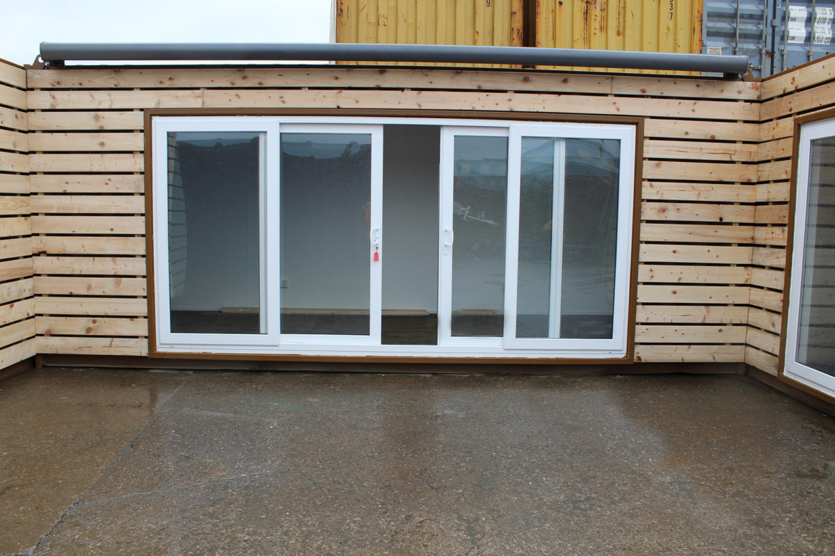 20ft cladded shipping container with sliding doors