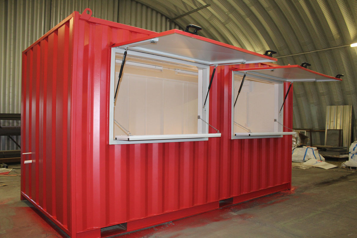 pop up catering unit with serving hatches