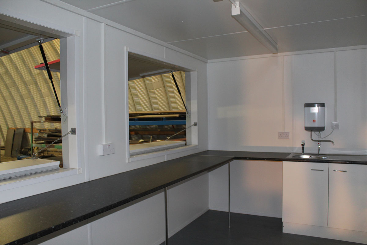 pop up catering unit with hatches inside kitchen