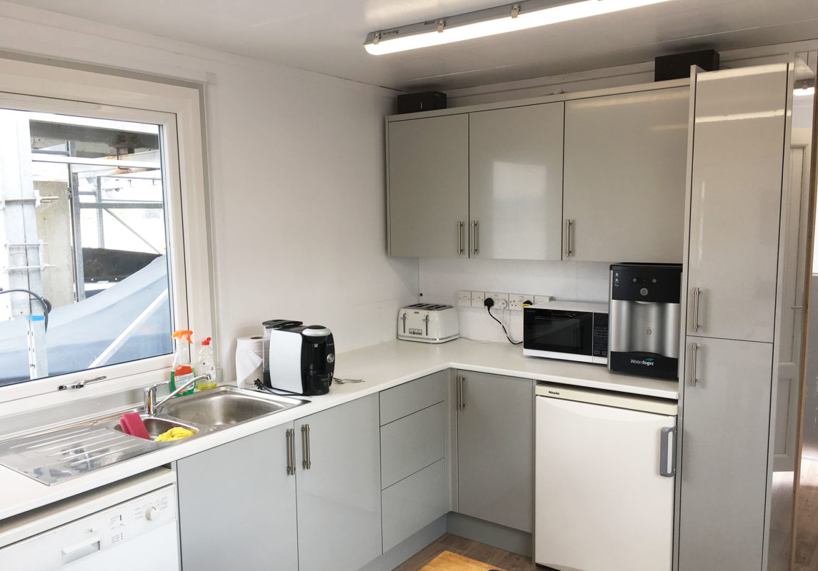 Office container conversion kitchen area
