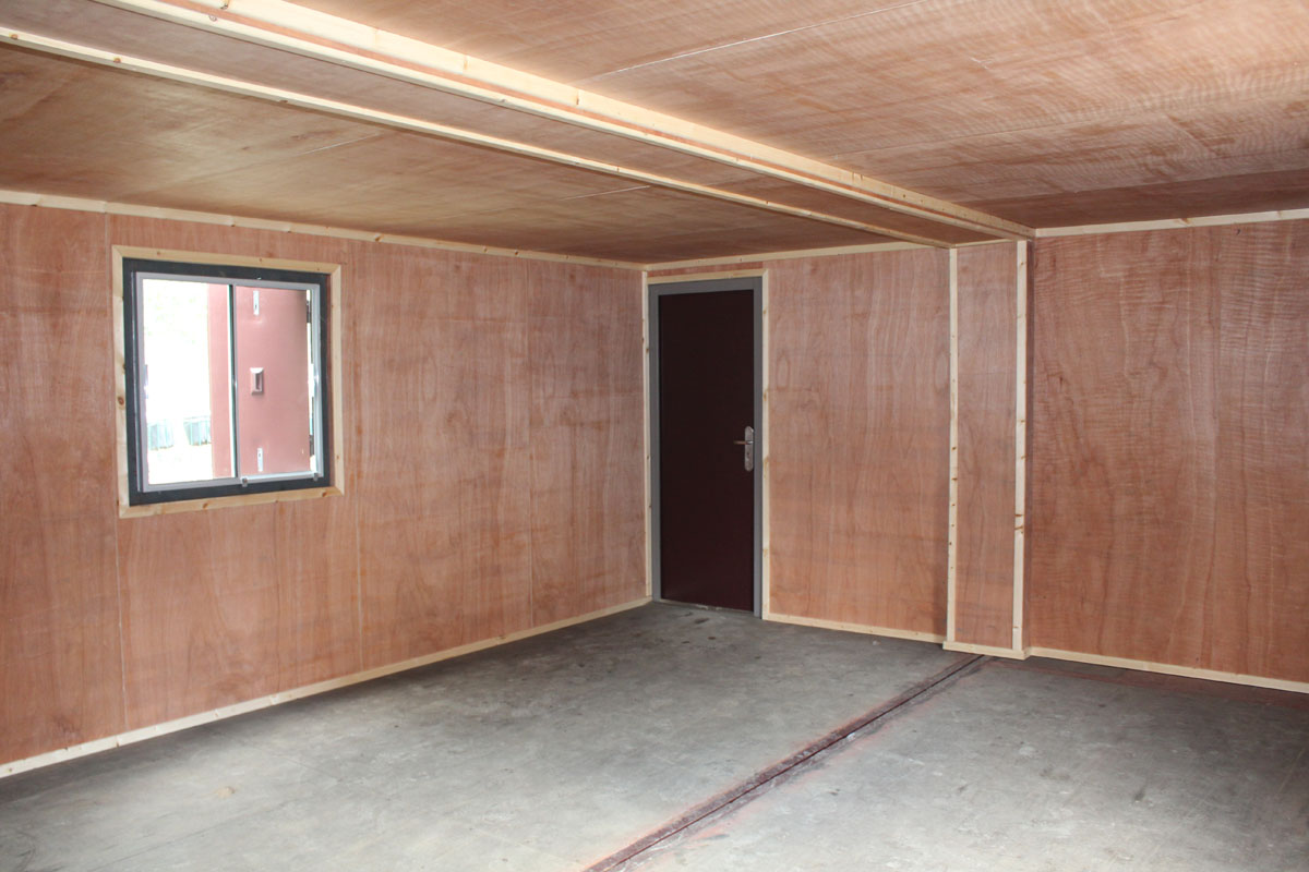 container conversion community centre ply lined