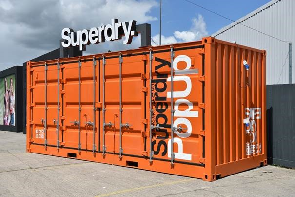 container pop up shop Superdry