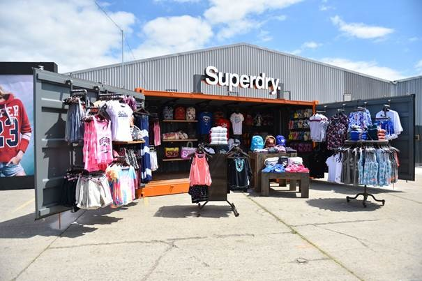 container pop up shop Superdry open