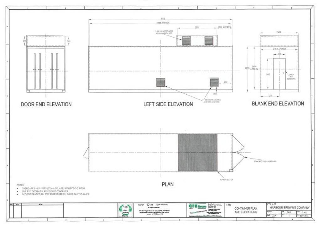 shipping container boiler house CAD