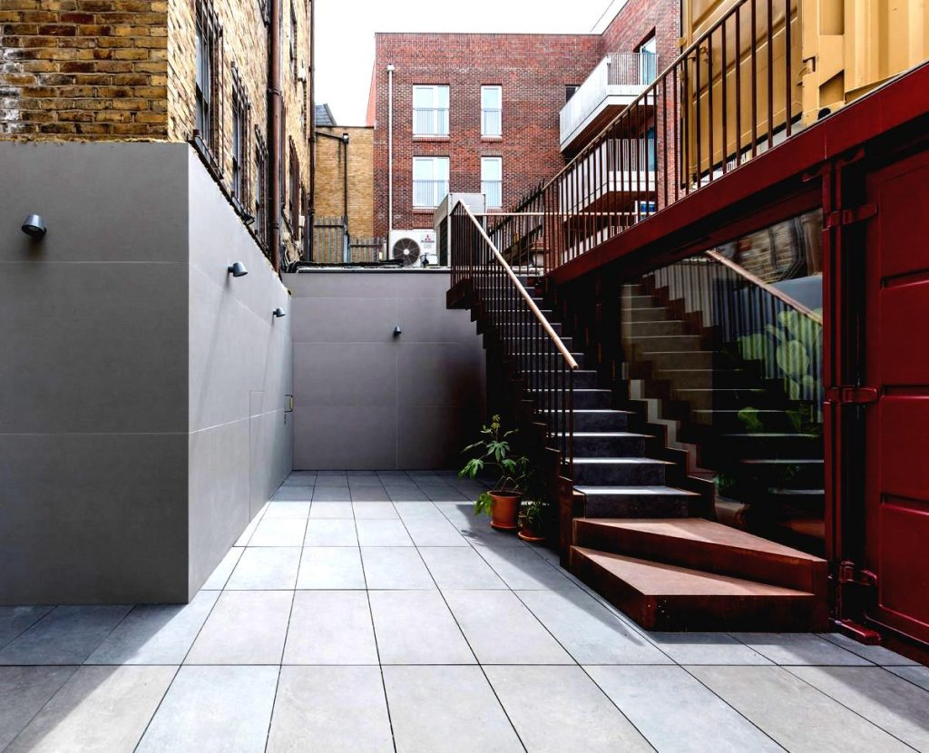 container office conversion with outside staircase