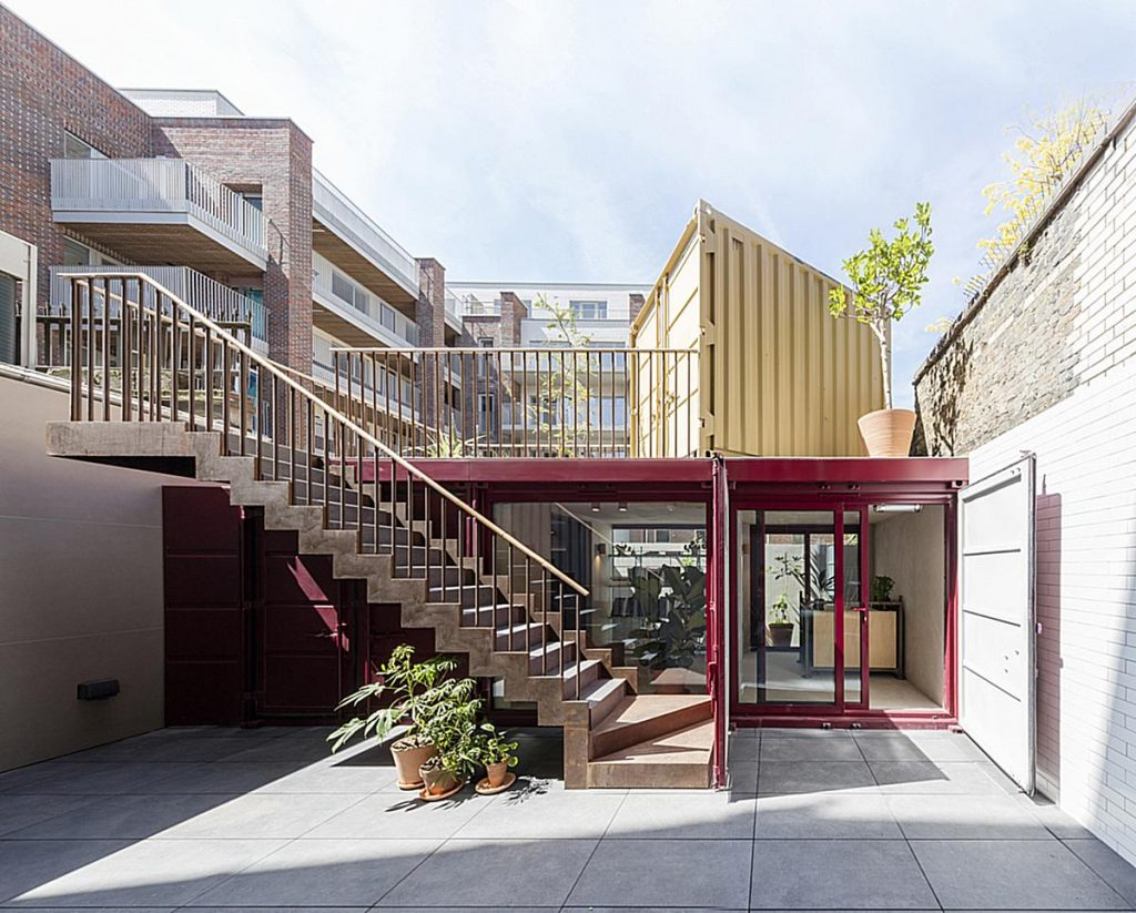 container office conversion London outside view